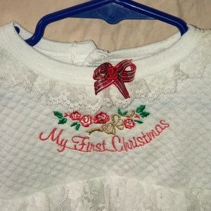 My first Christmas white lacy onesie fabulous pick